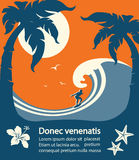 Surfer and big sea wave tropical island stock illustration