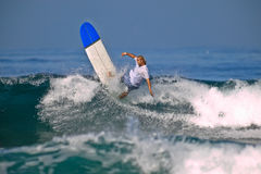 Surfer on a big wave Stock Photography