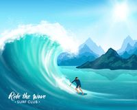 Surfer And Big Wave Illustration stock illustration
