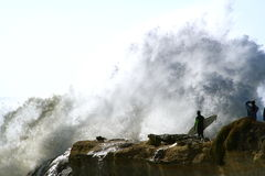 Surfer Big Wave Intimidation Royalty Free Stock Photography