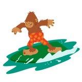 Surfer Bigfoot lustig stock abbildung