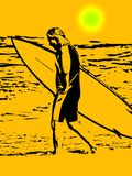 Surfer bij zonsondergang stock illustratie