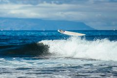 Surfer On Blue Ocean Wave. Extreme Sport royalty free stock photo