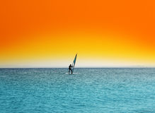 Surfer on blue sea under orange sky Stock Image