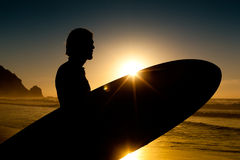 Surfer and board in evening sun Royalty Free Stock Photo