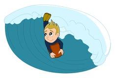 Surfer/bodyboarder jongensbeeldverhaal Stock Afbeelding