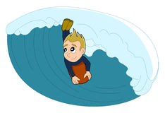 Surfer-/bodyboarder Jungenkarikatur Stockbild