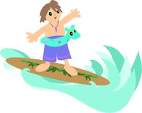 Surfer Boy. This boy loves to Surf the waves Stock Photo