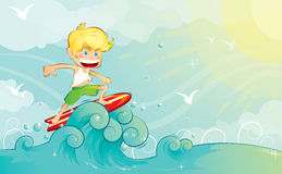 Surfer boy. A boy surfing on the waves Stock Images
