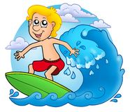 Surfer boy with clouds Stock Photos