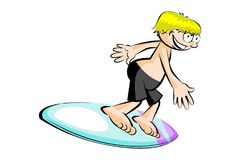 Surfer boy isolated on white Stock Photography
