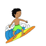 Surfer boy riding the wave Stock Photos