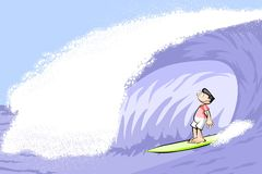 Surfer boy on surfboard riding the wave Stock Image
