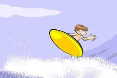 Surfer boy on surfboard riding the wave Stock Photo