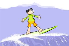 Surfer boy on surfboard riding the wave Royalty Free Stock Photo