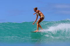 Surfer Brooke Rudow Surfing in Hawaii. Pro Surfer, Brooke Rudow, surfing on a longboard in Waikiki on the island of Oahu, Hawaii Stock Image