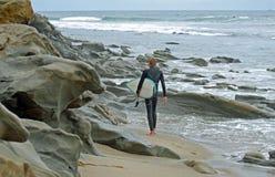 Surfer at Brooks Street, Laguna Beach, California. Stock Images