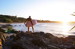 Surfer in Byron Bay royalty-vrije stock foto