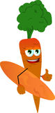 Surfer carrot with thumb up Stock Image