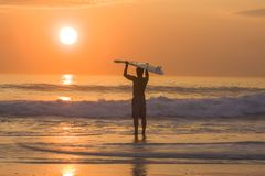 Longboard surfer silhouette at golden sunset Stock Photos