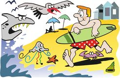 Surfer cartoon. Cartoon of surfer at beach running down to ocean Royalty Free Stock Photography