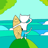 Surfer cat Royalty Free Stock Image