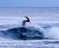 Surfer. A surfer catching air in Samoa Stock Photo