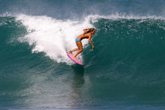 Surfer Cecilia Enriquez Surfing in Hawaii. Professional Surfer, Cecilia Enriquez surfing at Rocky Point on the North Shore of Oahu, Hawaii Stock Photography