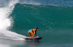 Surfer Cecilia Enriquez Surfing in Hawaii. Professional Surfer, Cecilia Enriquez surfing at Rocky Point on the North Shore of Oahu, Hawaii Stock Images