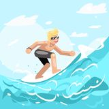 Surfer chatacter surfboard ride water sea ocean wave flat design Royalty Free Stock Image