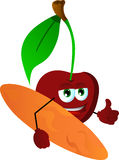 Surfer cherry with thumb up Royalty Free Stock Images