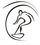 Surfer concept. Surfer symbol in simple black lines royalty free illustration