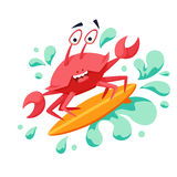 Surfer cool crab. On wave. Sirfing monsters. Fun surf print with cute crab vector illustration. Comic sea character on surfboard. Water sports kid poster. Ride Royalty Free Stock Photo