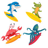 Surfer cool monsters. Sirfing shark, octopus, crocodile, crab. Fun surf print with cute animals vector illustration. Comic sea character on surfboard. Water vector illustration