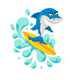 Surfer cool shark. On wave. Sirfing monsters. Fun surf print with cute shark vector illustration. Comic sea character on surfboard. Water sports kid poster Stock Photos