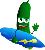 Surfer cucumber or pickle Royalty Free Stock Photography