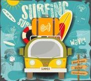 surfer d'affiche illustration stock