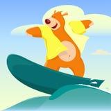 Surfer d'ours de bande dessinée Photos stock