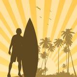 surfer de coucher du soleil de fond Images stock