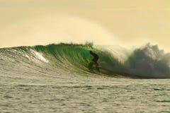 Surfer de lueur d'or dans le tube étonnant Photo stock