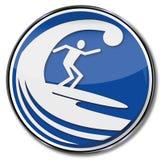 Surfer de signe surfant une vague énorme illustration stock