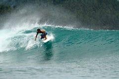 Surfer de vitesse sur l'onde verte tropicale image stock