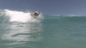 Surfer in der Aktion auf der Welle stock video