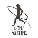 Surfer, der auf dem Strand läuft Gegangene surfende Kalligraphie stock abbildung
