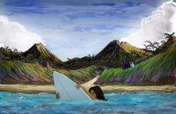 Surfer, der das Brett langweilt Lizenzfreie Stockfotos