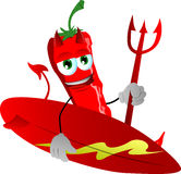 Surfer devil red hot chili pepper Royalty Free Stock Images