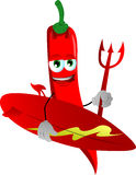 Surfer devil red hot chili pepper Royalty Free Stock Photography