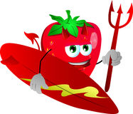 Surfer devil strawberry Royalty Free Stock Images