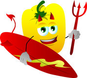 Surfer devil yellow bell pepper Stock Photography