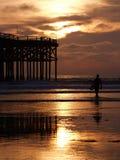 Surfer die in de zonsondergang loopt Stock Afbeeldingen